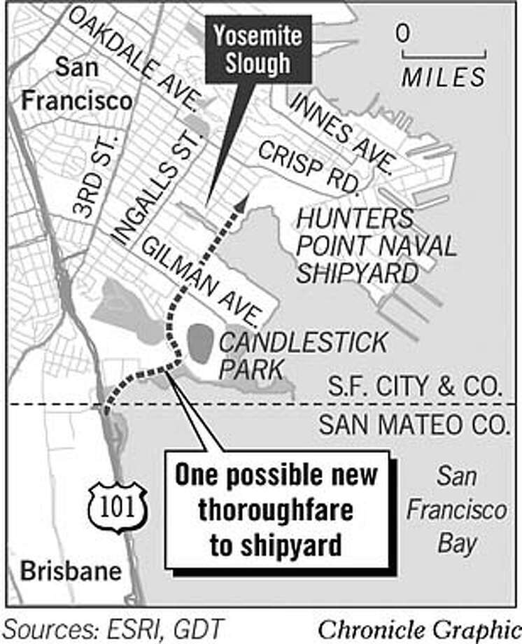 One Possible New Thoroughfare to Shipyard. Chronicle Graphic
