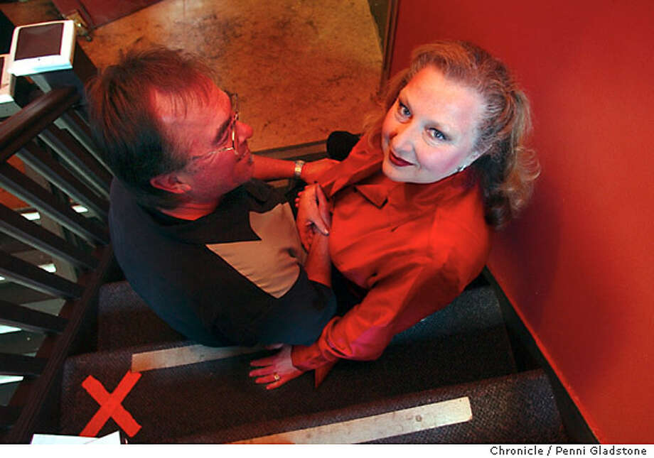 Val sits on the stairway backstage with her trumpeter husband, Steve Salgo. VAL Diamond, star of Beach Blanket Babylon at Club Fugazi  photo taken on 5/12/04 in San Francisco, CA.  must credit photo by Penni Gladstone/ MANDATORY CREDIT FOR PHOTOG AND SF CHRONICLE/ -MAGS OUT Photo: Penni Gladstone