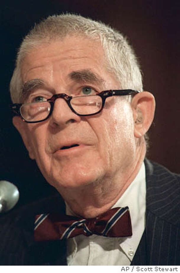 FILE *** Archibald Cox, shown in this 1987 file photo, the special prosecutor fired by President Nixon for refusing to curtail his Watergate investigation, died Saturday at his home, his daughter said. He was 92. (AP Photo/Scott Stewart) Photo: SCOTT STEWART