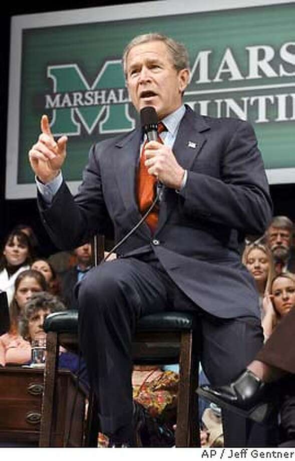President Bush discusses jobs and the economy Friday, April 2, 2004, at Marshall University's Joan C. Edwards Performing Arts Center in Huntington, W.Va. Photo: Jeff Gentner
