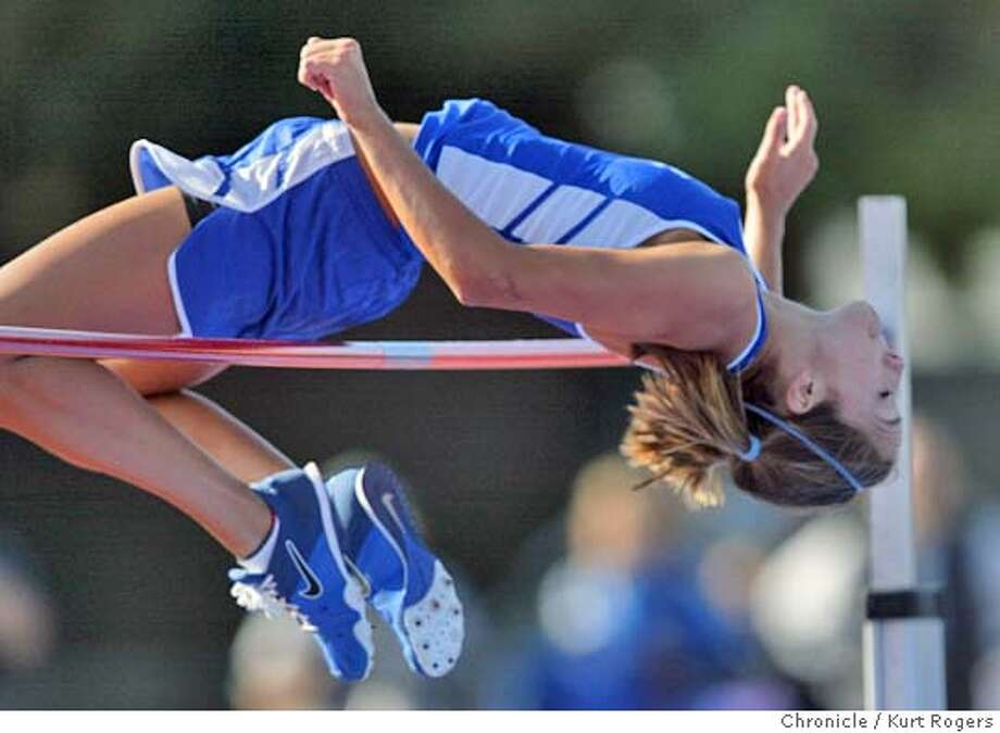 """Allie Miller of Los Altos won the high jump with this jump of 5'8"""".  Central Coast Section Track and Field Championships at San Jose City College. 5/28/04 in San Jose,CA.  Kurt Rogers/The Chronicle Photo: Kurt Rogers"""