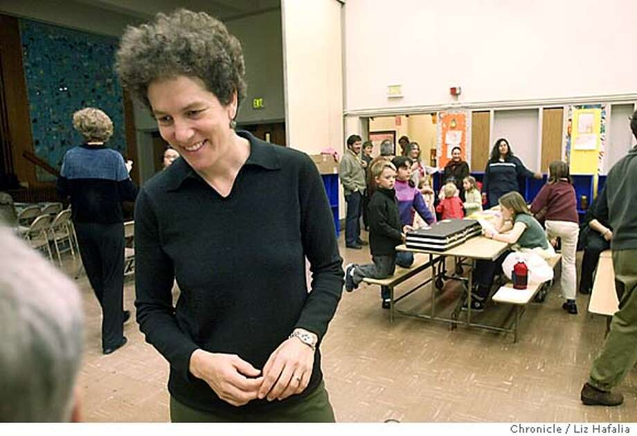 "Debra Chasnoff , an oscar-winning documentary filmmaker, has a new film called ""Let's Get Real"" about bullying in middle schools. She is talking to parents before the screening of her film at Buena Vista Alternative school.  Shot on 3/26/04 in {location}. LIZ HAFALIA/THE CHRONICLE Photo: LIZ HAFALIA"
