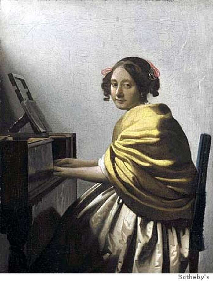 "(NYT8) UNDATED -- March 30, 2004 -- VERMEER-AUCTION -- Sotheby's is offering the first Vermeer to go to auction in more than 80 years. For decades this painting, ""Young Woman Seated at the Virginal,"" had been thought by experts to be a fake, but after 10 years of analysis it has been judged to be by the artist. (Sotheby's/The New York Times) *FOR USE ONLY WITH STORY BY CAROL VOGEL -- ALL OTHER USE PROHIBITED XNYZ HFO Photo: SOTHEBY'S"
