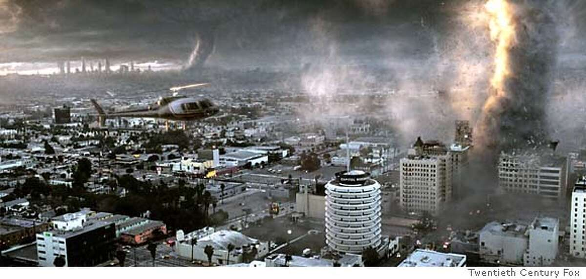 """Tornadoes destroy parts of Hollywood in the wake of a catastrophic climatic shift, in a scene from the new action thriller film """"The Day After Tomorrow"""" directed by Roland Emmerich. The film opens May 28, 2004 in the United States. LEISURE-DAYAFTERTOMORROW REUTERS/20th Century Fox/Handout"""