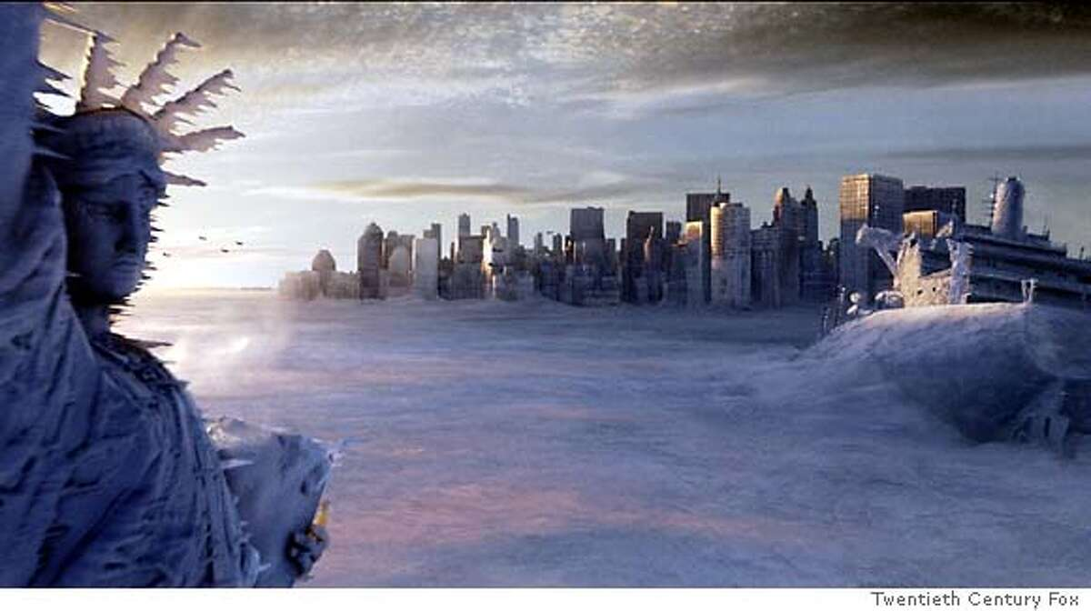 """** ADVANCE FOR Thursday, MAY 27 **The Statue of Liberty, left, and the New York city skyline sit in a deep freeze in the wake of a catastrophic climatic shift in a scene from Twentieth Century Fox's """"The Day After Tomorrow,"""" in this undated promotional photo. (AP Photo/Twentieth Century Fox)"""