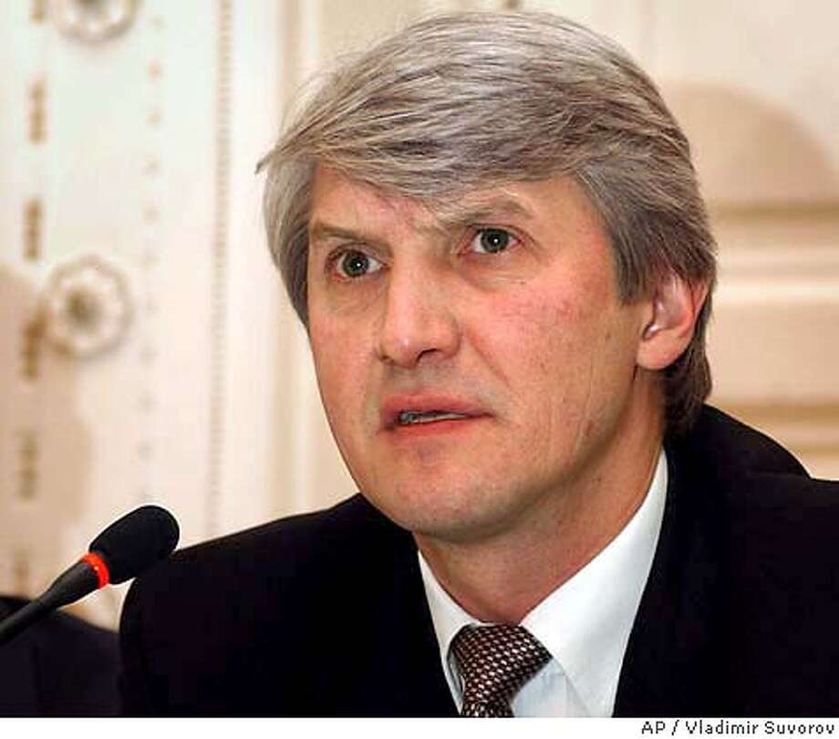 ** FILE ** Platon Lebedev is seen at a news conference in Moscow in this April 12, 2002 file photo. Lebedev, chairman of the board of Menatep, one of Russia's largest business empires, was arrested Wednesday, July 2, 2003 on suspicion of stealing state-owned shares in a company nearly a decade ago, the Russian Prosecutor General's office said. (AP Photo/Vladimir Suvorov, Gazeta) ** KOMMERSANT, IZVESTIA, KOMSOMOLSKAYA PRAVDA OUT **. Also ran 08/03/03 Photo: VLADIMIR SUVOROV