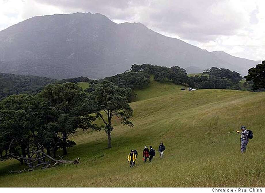 One of the trail-building teams hikes through a grassy meadow with Mt. Diablo rising behind them. A workshop on building and maintaining hiking trails at Chaparral Spring near Mt. Diablo on 4/17/04 in Clayton. PAUL CHINN/The Chronicle Photo: PAUL CHINN