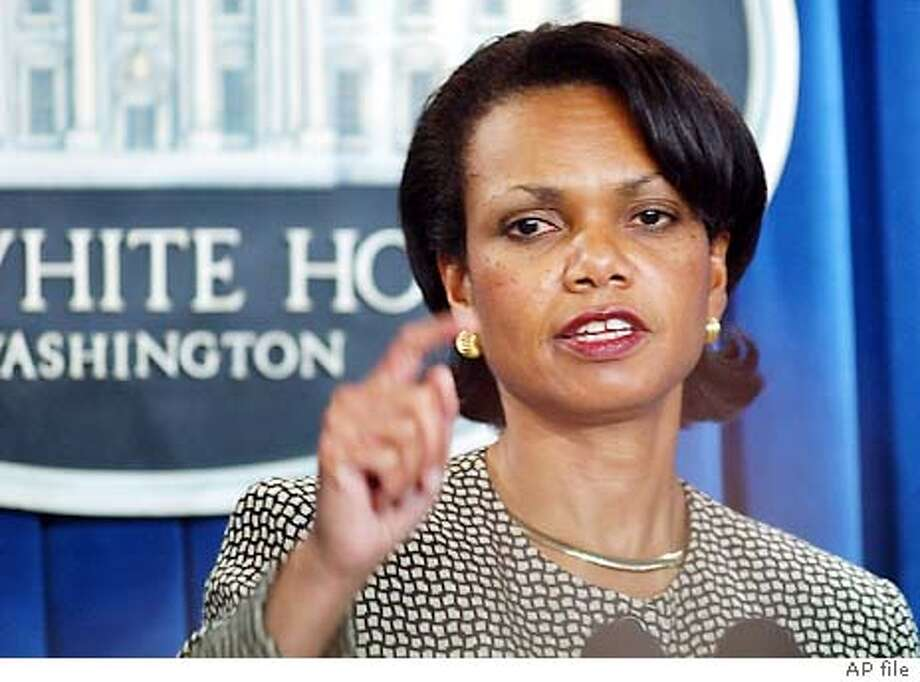 National Security Advisor Condoleezza Rice answers a question during a briefing in at the White House, Tuesday, Oct. 14, 2003 on the upcoming trip of President Bush to Asia. (AP Photo/Susan Walsh) National Security Adviser Condoleezza Rice, shown at Tuesday's press briefing, avoided questions Sunday on ABC's &quo;This Week&quo; about whether Bush will condemn statements by Army Lt. Gen. William G. Boykin concerning Islam and Christianity. Photo: SUSAN WALSH