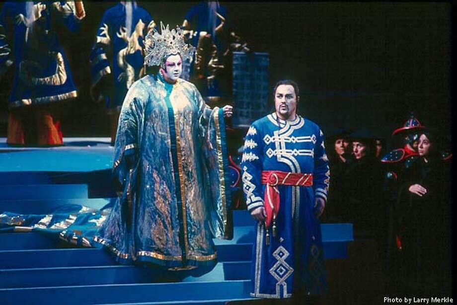 Jane Eaglen (Turandot), Jon Villars (Calaf) in SF Opera's Turandot. BY LARRY MERKLE  (HANDOUT PHOTO) Photo: HANDOUT