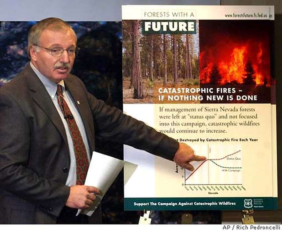 "**FILE ** U.S. Forest Service Regional Forester Jack Blackwell points to a ""Forests with a Future"" chart comparing damage costs caused by wildfires and projected reduction in damage under a new forest-thinning plan, in Sacramento, Calif., Jan. 22, 2004. Congressmen and interest groups are questioning the U.S. Forest Service decision to pay a private firm $90,000 to craft a public relations blitz backing plans to triple logging in 11 Sierra Nevada national forests. (AP Photo/Rich Pedroncelli, File) JAN 22 2004 FILE Photo: RICH PEDRONCELLI"