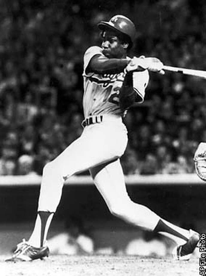 ** FILE ** Former Los Angeles Dodgers outfielder Dusty Baker takes his shot at bat in Los Angeles in this 1979 file photo. As manager of the San Francisco Giants, Baker will lead his National League team against the American League's Anaheim Angels, which is managed by former Dodger catcher Mike Scioscia, in the World Series beginning Saturday, Oct. 19. (AP Photo/Los Angeles Dodgers, File)