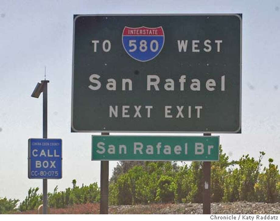 CWSANRAFAELSIGN002_rad.jpg Fixed item: Caltrans recently added a San Rafael Bridge sign to Westbound Interstate 80, on the righthand shoulder, 1/2 mile before the Richmond Parkway exit. NOTE: The assignment reads that this sign was added to Eastbound 80, but that is wrong!! The sign is read by WESTBOUND drivers only!! Katy Raddatz / The Chronicle MANDATORY CREDIT FOR PHOTOG AND SF CHRONICLE/ -MAGS OUT Photo: Katy Raddatz