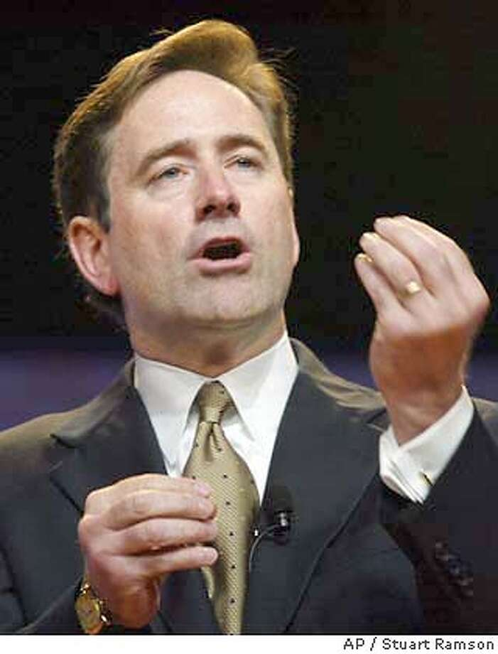 **FILE** Craig A. Conway, president and chief executive officer of PeopleSoft, Inc., is shown in New York, in this June 19, 2003, file photo. Business software maker PeopleSoft Inc. threw a curve ball at unwelcome suitor Oracle Corp. late Friday, Jan. 30, 2004, by accelerating a pivotal shareholder vote that will determine its board of directors. Conway is one of four incumbent directors PeopleSoft wants its shareholders to re-elect in order to preserve the status quo on an eight-member board that has already twice rejected Oracle's overtures. (AP Photo/Stuart Ramson, File) ALSO RAN: 03/18/2004 ProductName	Chronicle Craig Conway, PeopleSoft CEO, wants to stop takeover. Craig Conway, PeopleSoft CEO, wants to stop takeover. CEO Craig Conway is up for re-election as a director at PeopleSoft's shareholder meeting today. JUNE 19, 2003 FILE PHOTO Photo: STUART RAMSON