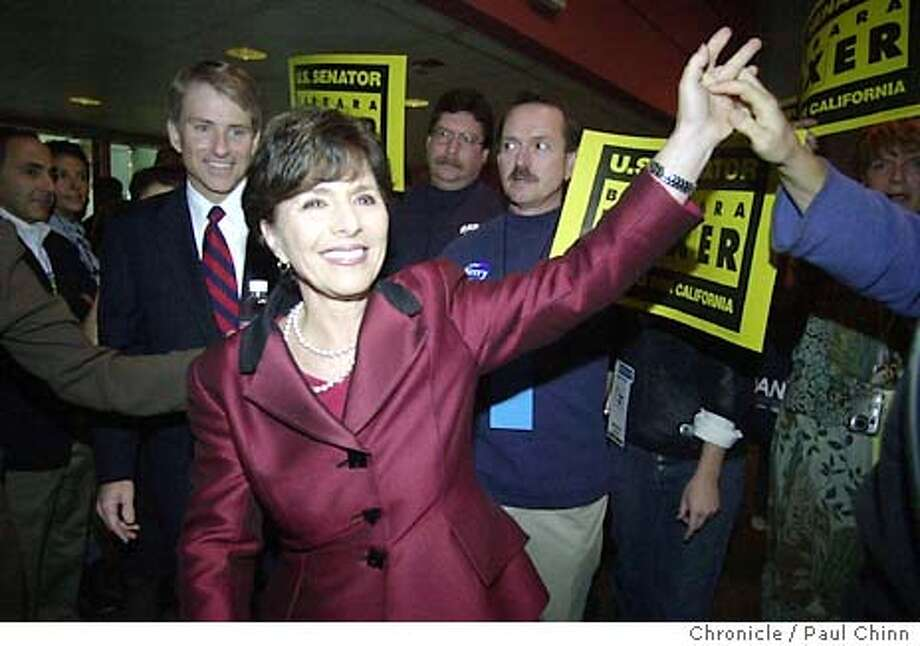 dems18_161.JPG U.S. Senator Barbara Boxer walks into the ballroom to a thunderous ovation as she's introduced at the convention Saturday. The California State Democratic Convention in San Jose on 1/17/04. PAUL CHINN / The Chronicle Sen. Barbara Boxer had more than $5 million remaining in her campaign treasury at the end of 2003. Sen. Barbara Boxer had more than $5 million remaining in her campaign treasury at the end of 2003. Sen. Barbara Boxer walks into the ballroom to an ovation at the California State Democratic Convention in San Jose. Photo: PAUL CHINN