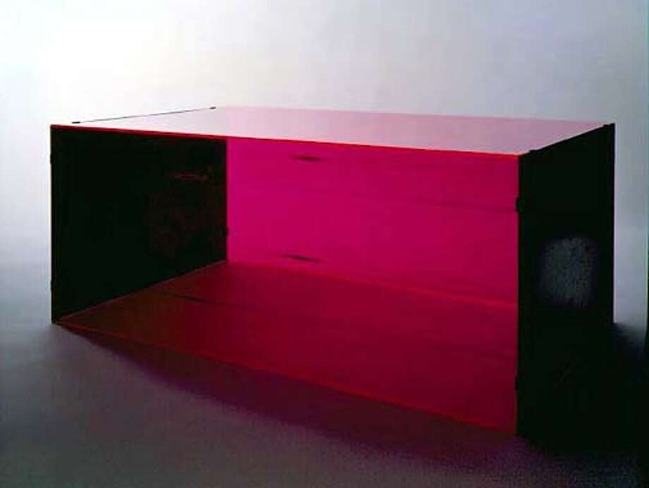 Donald Judd  Untitled (8 March 1965), 1965  Red fluorescent Plexiglass and cold-rolled steel  20 x 48 x 34 inches  50 3/4 x 122 x 86 1/2 cm  DSS 58 Photo: HANDOUT