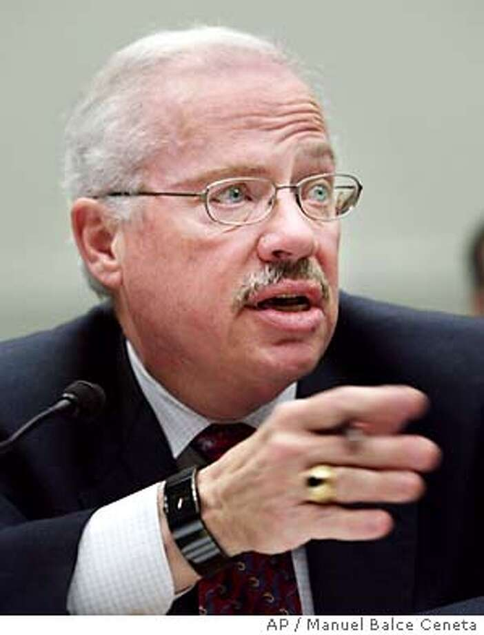 "Former Rep. Bob Barr, R-Ga, testifies before the House Judiciary Committee regarding the proposed Federal Marriage Amendment that would define ""marriage"" as only the lawful union between a man and a woman on Capitol Hill, March 30, 2004 in Washington. Barr, who is not a supporter of the same-sex marriage and opposes a constitutional amendment, is the author of the ""Defense of Marriage Act"" commonly known as DOMA, which was signed into law by President Clinton in the fall of 1996. (AP Photo/Manuel Balce Ceneta) Former Rep. Bob Barr, R-Ga., says marriage laws are a state prerogative. Photo: MANUEL BALCE CENETA"