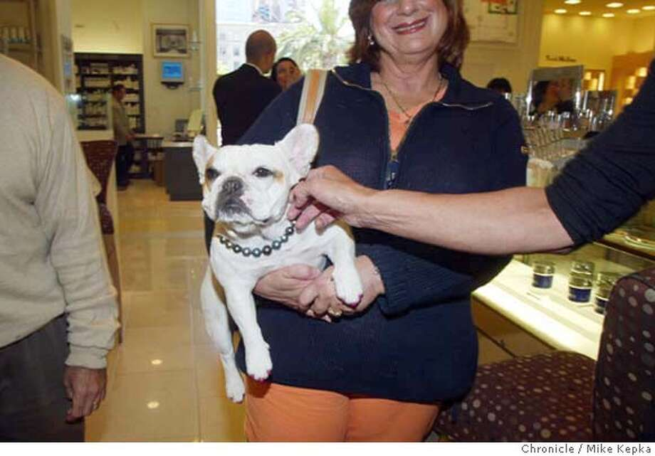 Scott and Cheryl Glaser have figured out how to market their dog Brie, a 2-year-old french bull dog. They currantly have a line of greeting cards showing Brie doing humorous things which are apparently are doing well. Part of their game is make Brie the dog about town in which they tote her to places like Saks Fifth Avenue and Tiffany's. 5/19/04 in San Francisco. Mike Kepka / The Chronicle Photo: Mike Kepka
