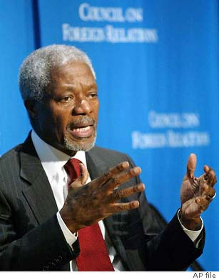 United Nations Secretary General Kofi Annan speaks on the topic 'The United Nations and Global Security in the 21st Century', at the annual David A. Morse lecture hosted by the Council of Foreign Relations in New York, Tuesday, March 16, 2004. (AP Photo/Stuart Ramson) Photo: STUART RAMSON