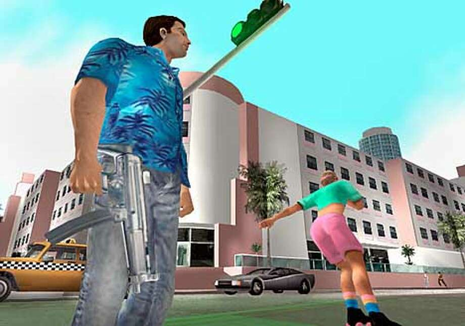 Grand Theft Auto: vice City (released Oct. 29) is expected to become the best selling video game of all time be Christmas. Character Tommy Vercetti, left, is voiced by Ray Liotta. Photo: HANDOUT