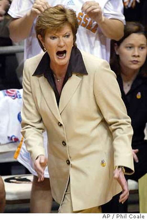 Tennessee head coach Pat Summitt yells at her team during first half action of the NCAA Midwest Regional championship game, Monday, March 22, 2004, in Tallahassee, Fla. (AP Photo/Phil Coale) Photo: PHIL COALE