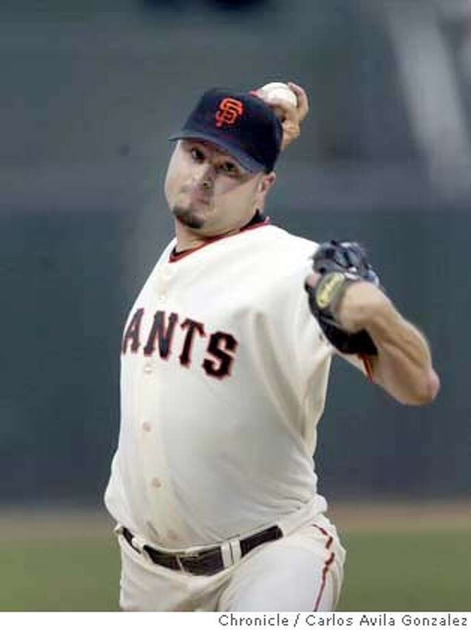 Jason Schmidt, starting pitcher for the Giants. The San Francisco Giants played the Atlanta Braves on Monday, April 26, 2004, at SBC Park in San Francisco, Ca.  Event on 4/26/04 in San Francisco, CA. Photo by Carlos Avila Gonzalez / The San Francisco Chronicle Photo: Carlos Avila Gonzalez