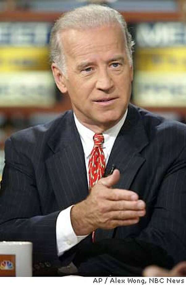 "Ranking member of the Senate Foreign Relations Committee Senator Joseph Biden, D-Del., speaks on NBC's 'Meet the Press' Sunday, October 12, 2003 in Washington. Biden said that President Bush has lost control of Iraq policy because of infighting among Vice President Cheney and other top aides. (AP Photo/NBC News, Alex Wong, HO) Sen. Joseph Biden cat ** HANDOUT PHOTO ** ( NO ARCHIVE BEFORE (OCTOBER 19, 2003) MUST CREDIT ""MEET THE PRESS"") Photo: ALEX WONG"