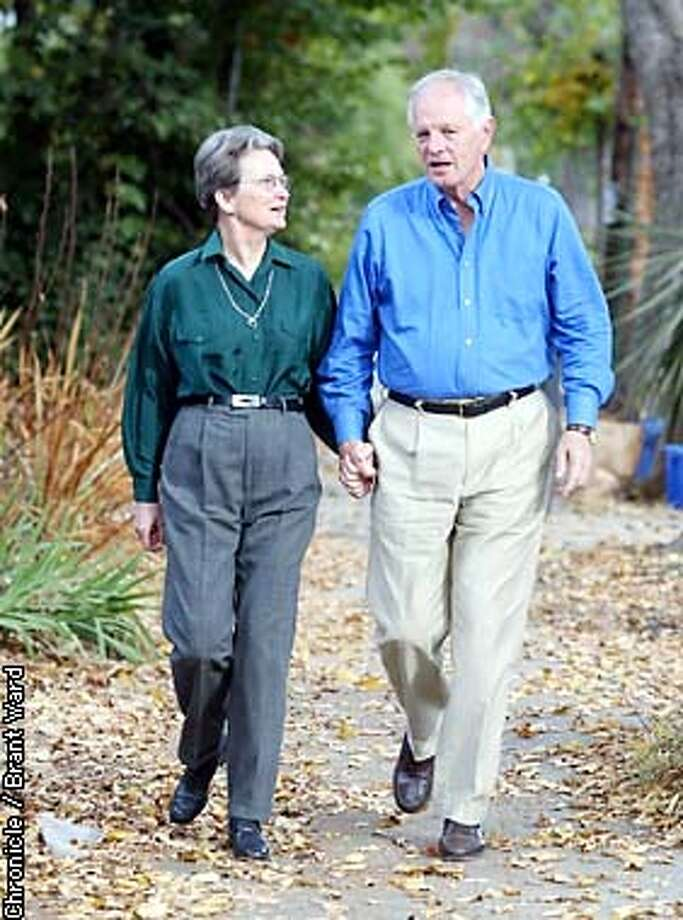 New Berkeley mayor Tom Bates, right, took a break from their busy day for a walk with wife Loni Hancock, who was elected to the Assembly. They enjoy regular walks around their Berkeley home. By Brant Ward/Chronicle Photo: BRANT WARD