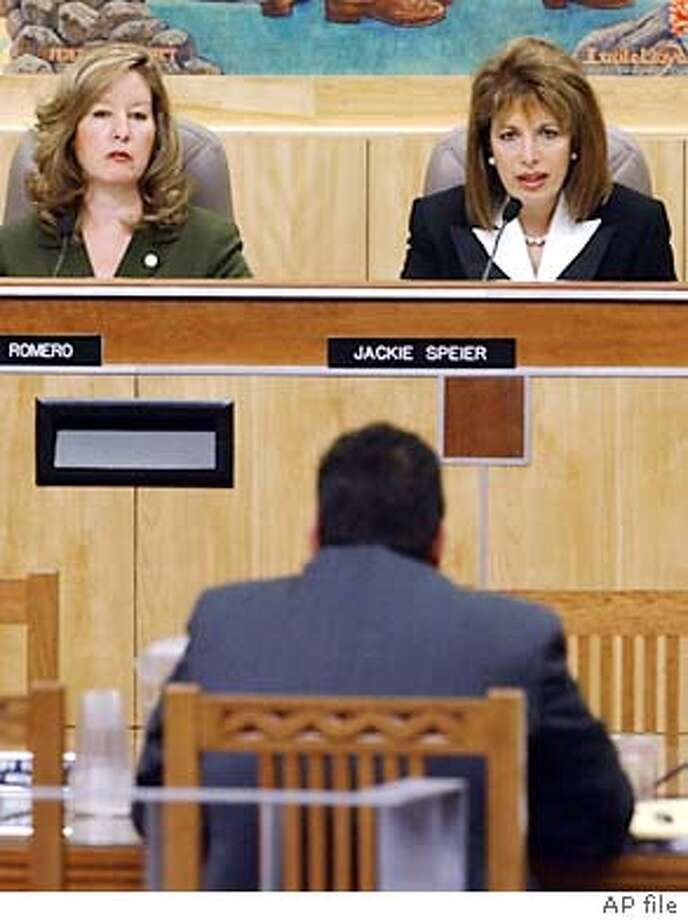 State Sen. Jackie Speier, D-Daly City, right, questions Mike Jimenez, head of the California Correctional Peace Officers Association, seated back to camera, during a hearing looking into alleged wrongdoing involving staff at Folsom Prison, at the Capitol in Sacramento, Calif., Tuesday, Jan. 20, 2004. At left is state Sen. Gloria Romero.(AP Photo/Rich Pedroncelli) Gloria Romero and Mark Leno are presenting bills that would open prison doors to journalists. ProductNameChronicle State Sen. Gloria Romero said the Youth Authority must make wholesale changes. ProductNameChronicle Photo: RICH PEDRONCELLI