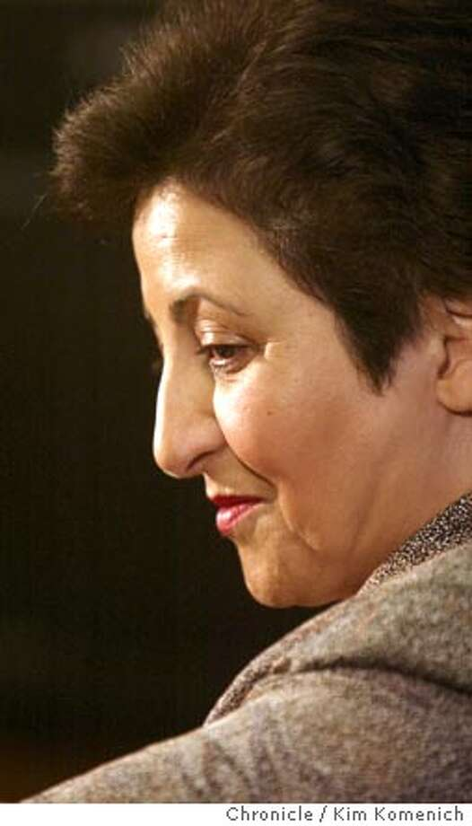 Iranian human rights lawyer Shirin Ebadi, recipient of the 2003 Nobel Peace Prize, holds a press conference at Stanford prior to an address at Stanford's Memorial Auditorium  Photo by Kim Komenich in Stanford. Photo: Kim Komenich