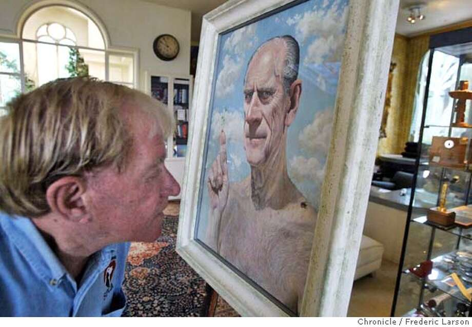; San Francisco AD man Bob Pritikin buys infamous painting of Britain's Prince Philip, the one with a bug on his shoulder and a plant growing out of his finger. Bob checks out the best part of painting, the fly on his shoulder. 5/21/04  San Francisco Chronicle Frederic Larson Photo: Frederic Larson