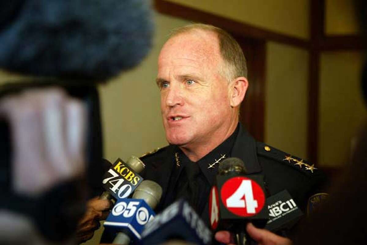 SF POLICE CHIEF ALEX FAGAN SR. ALSO RAN 07/04/03 08/12/03 12/12/03, 01/16/04 San Francisco Police Chief Alex Fagan won't keep his job under incoming Mayor Gavin Newsom. San Francisco Police Chief Alex Fagan won't keep his job under incoming Mayor Gavin Newsom. CAT deadline photos Nation#MainNews#Chronicle#12/15/2003#burr, 8437#3star##0421230897 Nation#MainNews#Chronicle#12/15/2003#ALL#3star##0421230897 ALSO RAN 12/15/2003 Gavin Newsom CAT Nation#MainNews#Chronicle#12/15/2003#ALL#3star##0421230897 Metro#MainNews#Chronicle#03/27/04#ALL#5star##0421230897 Alex Fagan Jr., shown in this booking photo, was booked on five misdemeanor counts, including disorderly assault.