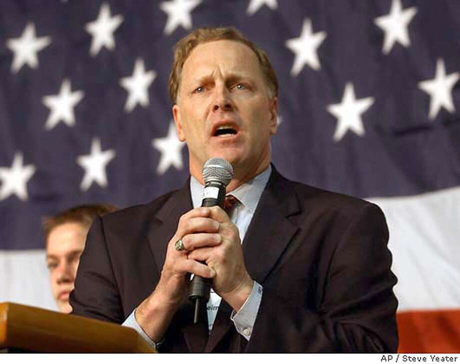 Duf , an attorney from Palo Alto, speaks to delegates after being elected as the new party chairman during the Califorrnia Republican Party Convention in Sacramento, Calif., Sunday, Feb. 23, 2003.(AP Photo/Steve Yeater) Photo: STEVE YEATER