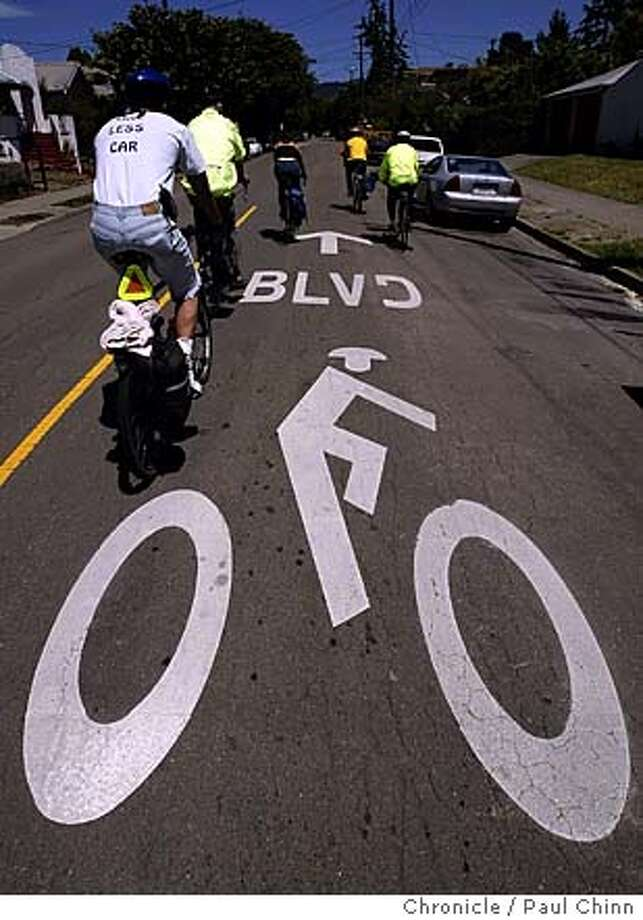 The designated routes are clearly marked for the bicyclists. The Bicycle Boulevard network of bike lanes in Berkeley on 5/13/04. PAUL CHINN/The Chronicle Photo: PAUL CHINN