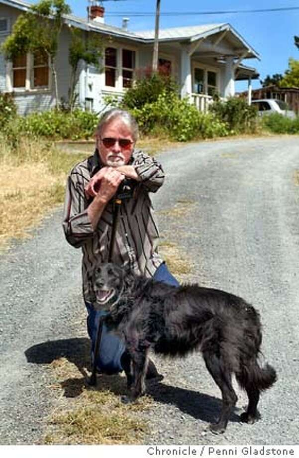 Dryden in front of his home with his landlords dog which he cares for during the day.  Jefferson Airplane drummer Spencer Dryden has fallen on hard times. His health is failing. He doesn't have any dough and his house burned down with all his earthly possessions. A benefit is being held on his belaf 5-22 at Slim's  on 5/13/04 in Penngrove, CA.  must credit photo by Penni Gladstone/ Photo: Penni Gladstone