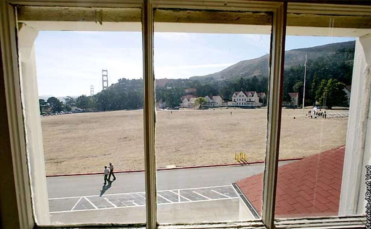 A view from one of the buildings surrounding the great parade ground at Fort Baker shows the open space and military-style housing which dots the landscape. By Brant Ward/Chronicle