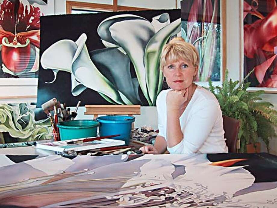 Birgit O'Connor's intricate watercolors have been compared to Georgia O'Keeffe's flower pictures.