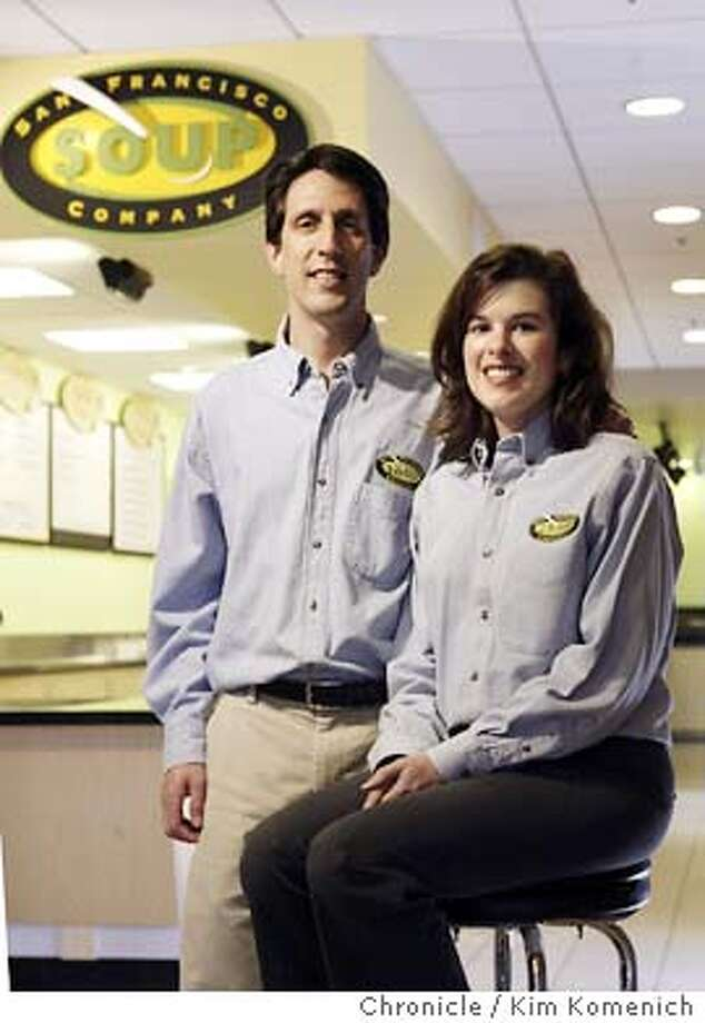 Steve and Jennifer Sarver at their Battery and Sacramento Street San Francisco Soup Company store. Legislation is coming to the SF Board of Supes Monday which would limit the number of chain stores permitted in some San Francisco neighborhoods. The idea is to prevent the Starbuckization of SF, but what about small, growing, home-grown businesses that want to expand. Like the SF Soup Company, which the Sarvers started? Would they be forbidden from expanding in SF once they opened more than 11 shops?  Chronicle photo by Kim Komenich in San Francisco Photo: Kim Komenich