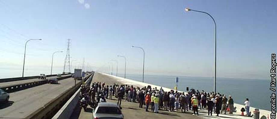 Project to widen San Mateo Hayward Bridge has been completed ahead of schedule. The Ceremony to celebrate completion was today New bridge opens to traffic Nov.4th Photo By Kurt Rogers Photo: Kurt Rogers