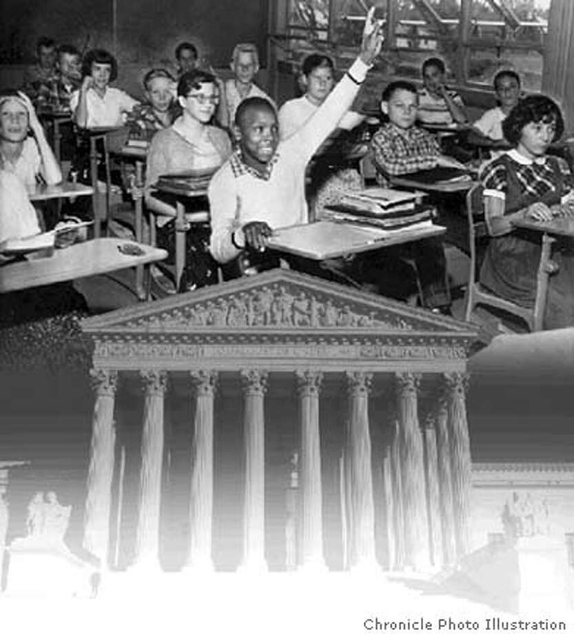 Together but unequal: 50 years after the Supreme Court decision that desegregated America's schools, Brown vs. Board of Education is re-examined. Chronicle Photo Illustration