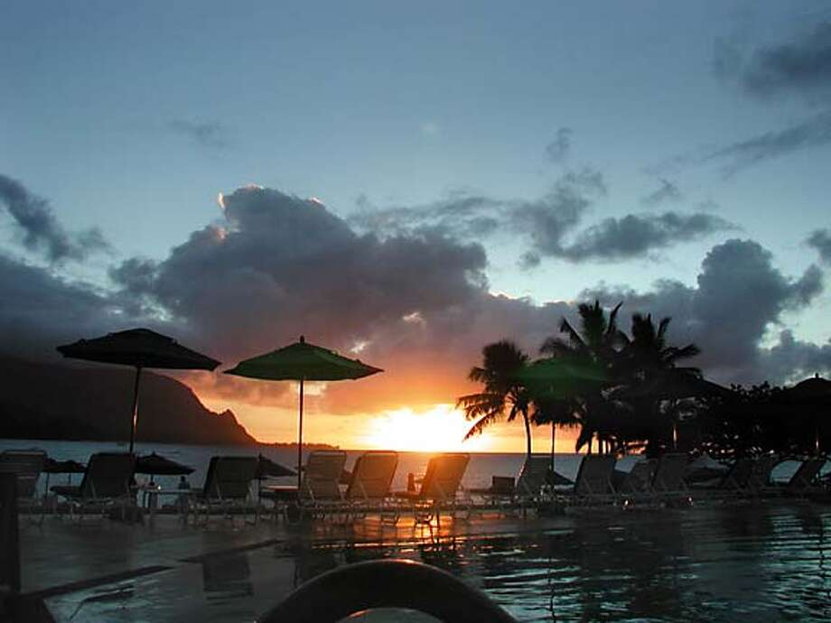 The view from the pool at the Princeville Hotel on Kauai. The hotel took 13 months to reopen after severe water damage to the elaborate lobby and guest rooms. Photo by Anne Schrager, special to the Chronicle