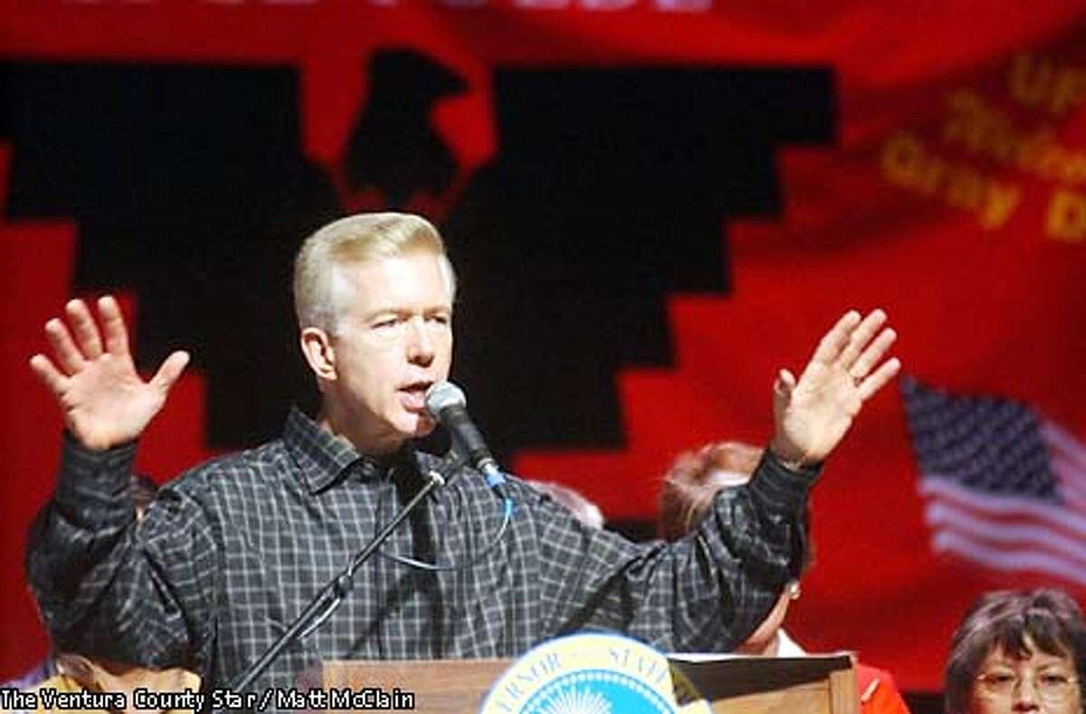 California Gov. Gray Davis addresses a crowd Sunday, Oct. 20, 2002, at the Oxnard Performing Arts Center in Oxnard, Calif. (AP Photo/The Ventura County Star, Matt McClain)