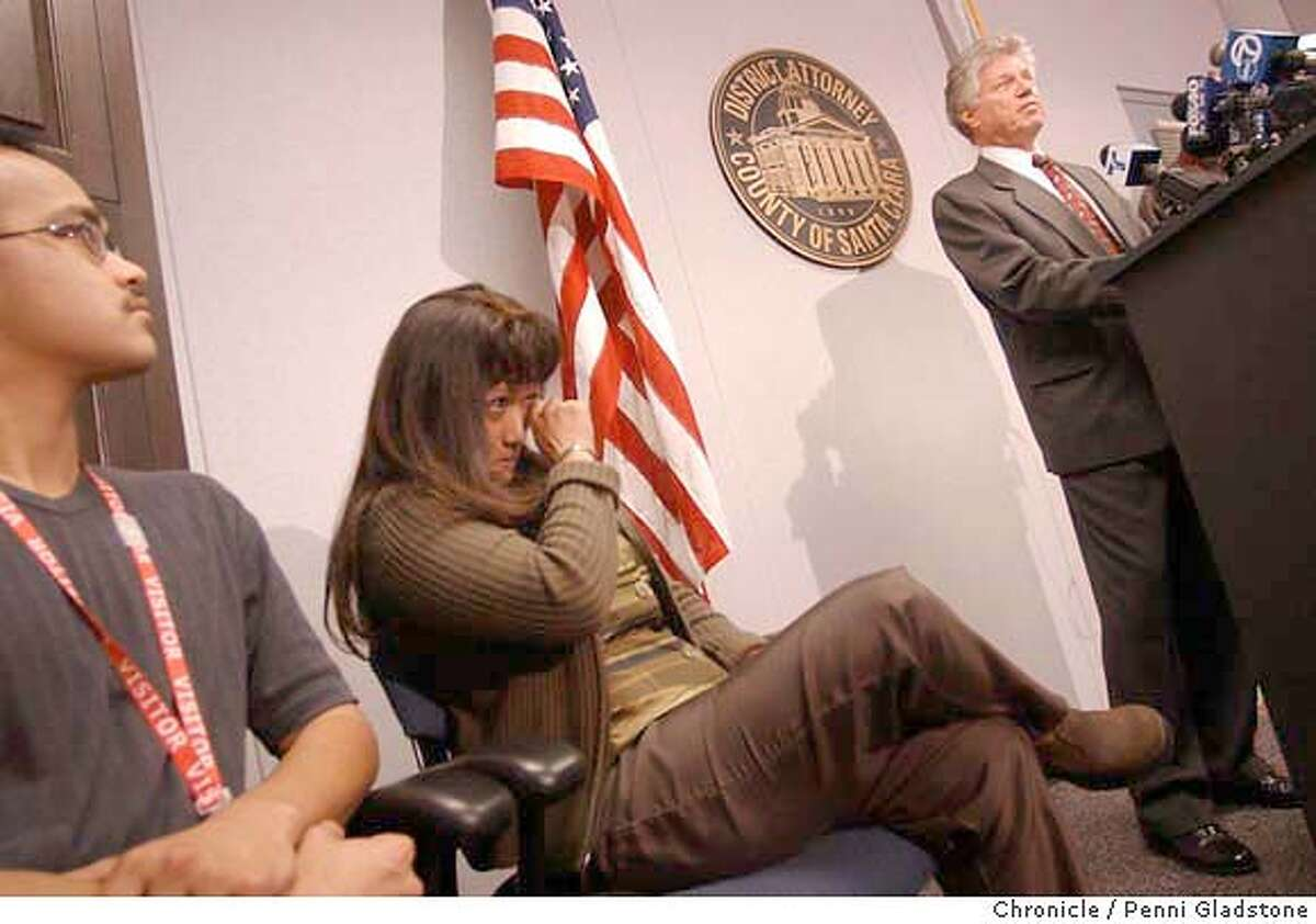 Deputy DA Charles Constanstinides and Stephanie Kahalekulu at press conf to announce arrest of person in Xiana Fairchild kidanping and murder. Event on 5/12/04 in San Jose. PENNI GLADSTONE / The Chronicle MANDATORY CREDIT FOR PHOTOG AND SF CHRONICLE/ -MAGS OUT