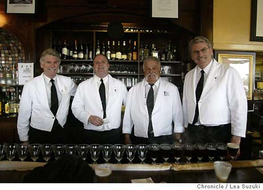spirits18_016_ls.JPG From left: Larry Nolan, Clark Facer, Fred Dagnino and Paul Nolan.Retired bartender Fred Dagnino works at the Buena Vista Cafe on Hyde at Beach Streets on a Sunday on 2/29/04 in San Francisco. Lea Suzuki/San Francisco Chronicle Lea Suzuki/ San Francisco Chronicle ProductName	Chronicle Buena Vista Cafe bartenders (from left) Larry Nolan, Clark Facer, Fred Dagnino and Paul Nolan have glass goblets lined up and ready to be filled with the restaurant's signature Irish coffee drink. Photo: Lea Suzuki