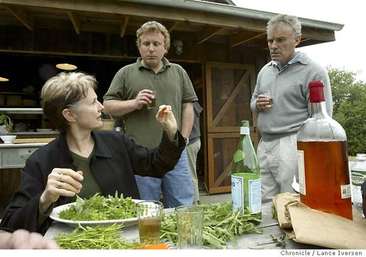 EELS12_190_LI.JPG event on 4/10/04 in STINSON BEACH Chef-Author Alice Waters talks with party organized by Cyrus Harmon from Berkeley and Chez Panisse chef Jean-Pierre Moulle at the outdoor kitchen site of a party that will feed some 50 guest a verity of Monkey Face Eel dishes. By Lance Iversen/The San Francisco Chronicle