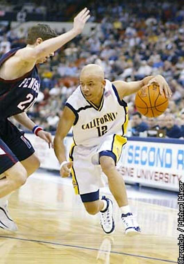 Cal's 12- Shantay Legans dribbles around Pennsylvania's 20 Andrew Toole in the second half. NCAA Mens Basketball Round 1 Califronia V. Pennsylvania at the Mellon arena in Pittsburgh, Pa. by MIchael Macor/The Chronicle Photo: MICHAEL MACOR