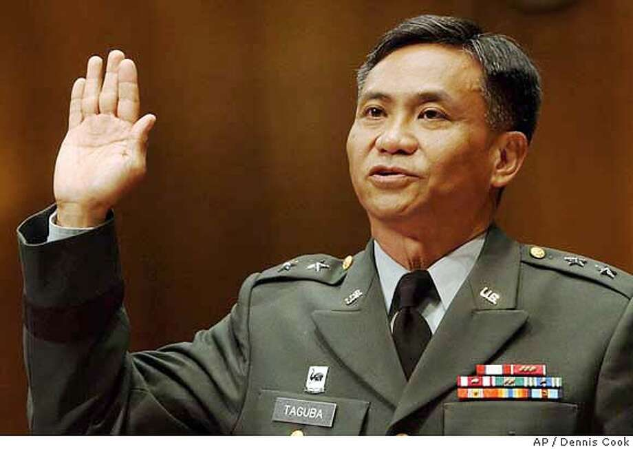 """Army Maj. Gen. Antonio M. Taguba is sworn in before testifying to the Senate Armed Services Committee Tuesday, May 11, 2004, in Washington. Taguba is the author of a Pentagon report that found numerous """"sadistic, blatant and wanton criminal abuses"""" at Abu Ghraib, a U.S.-run prison complex near Baghdad. (AP Photo/Dennis Cook) Photo: DENNIS COOK"""