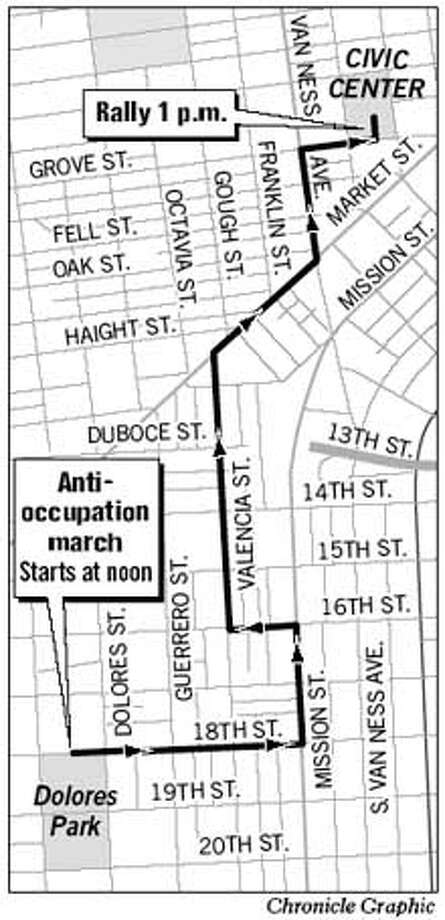 Anti-Occupation March. Chronicle Graphic
