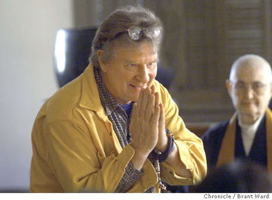THURMAN1-16JAN00-DD-BW--Buddhist teacher Robert Thurman greeted people at the San Francisco Zen center before a workshop held Sunday. By Brant Ward/Chronicle Photo: BRANT WARD