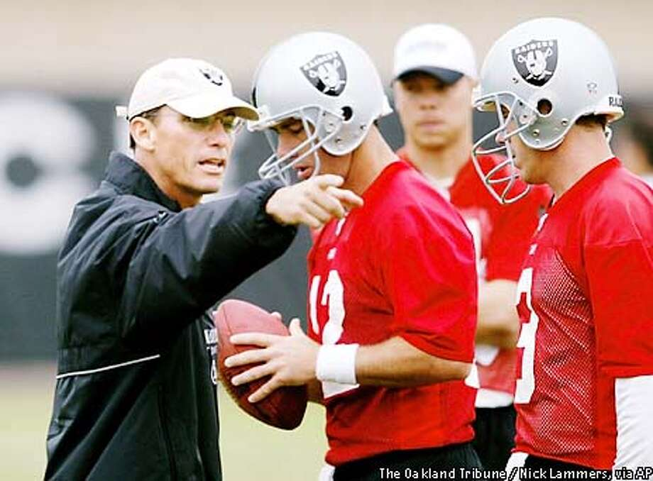 Oakland Raiders offensive coordinator Marc Trestman, formerly of the San Francisco 49ers, works with quarterbacks Rich Gannon, center, and Rick Mirer at training camp in Napa, Calif., Tuesday, July 30, 2002. (AP Photo/The Oakland Tribune, Nick Lammers) Photo: NICK LAMMERS