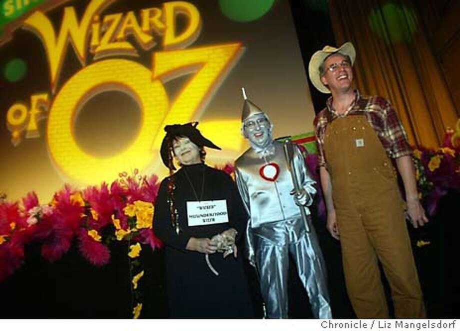 Event on 3/12/04 in San Francisco.  The annual Wizard of Oz Singalong at the Castro theater. This is Opening night, and Zona Sage (wicked witch), Dale Walter (the tin man) and Alan Edel, (as the character that became the Scarecrow in Dorothy's dream) stand in front of the crowd before the program.  Liz Mangelsdorf / The Chronicle Photo: Liz Mangelsdorf